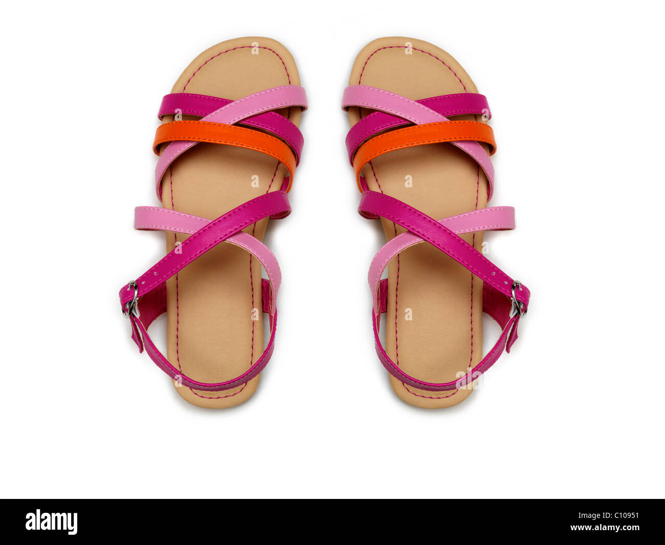 A Pair Of Children's Red And Pink Sandals - Stock Image