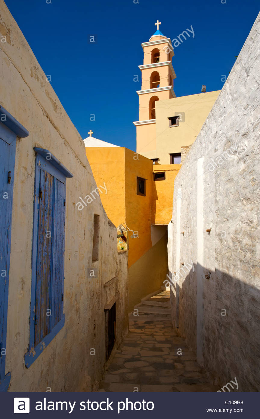 Bell tower of the Catholic church of Ano Syos, Syros [ Σύρος ] , Greek Cyclades Islands - Stock Image