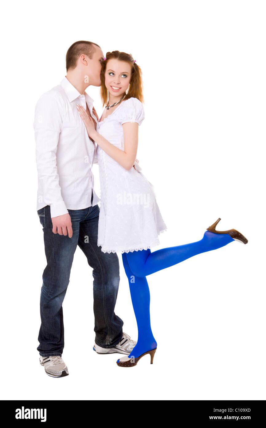 Couple talking full of emotions isolated on white - Stock Image