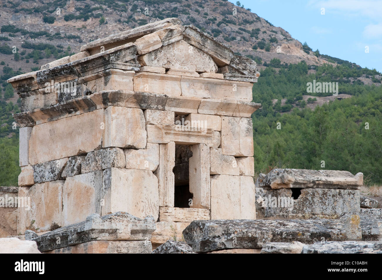 House-type tomb at the ruins of the Necropolis in Hierapolis, Turkey - Stock Image