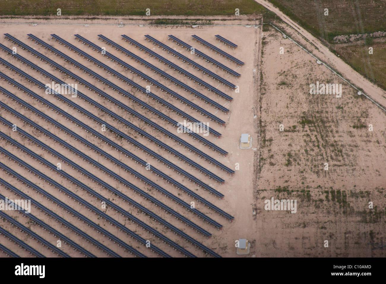 solar panels Spain corner market hot dry sunny electricity green power environment environmental sustainable energy - Stock Image
