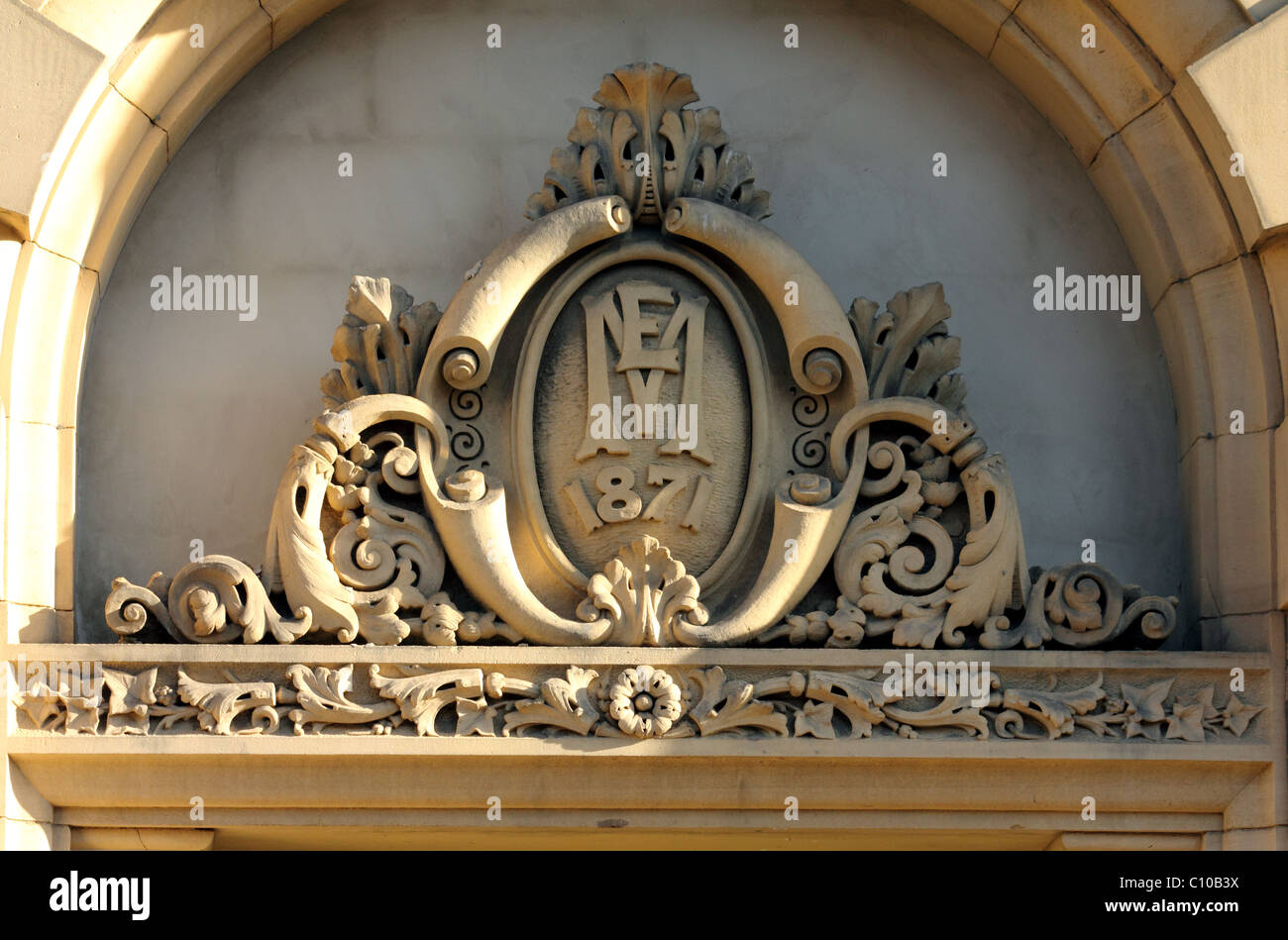 Architectural detail on Doors Arches and keystones of listed buildings Little Germany Bradford Yorkshire UK & Architectural detail on Doors Arches and keystones of listed Stock ...