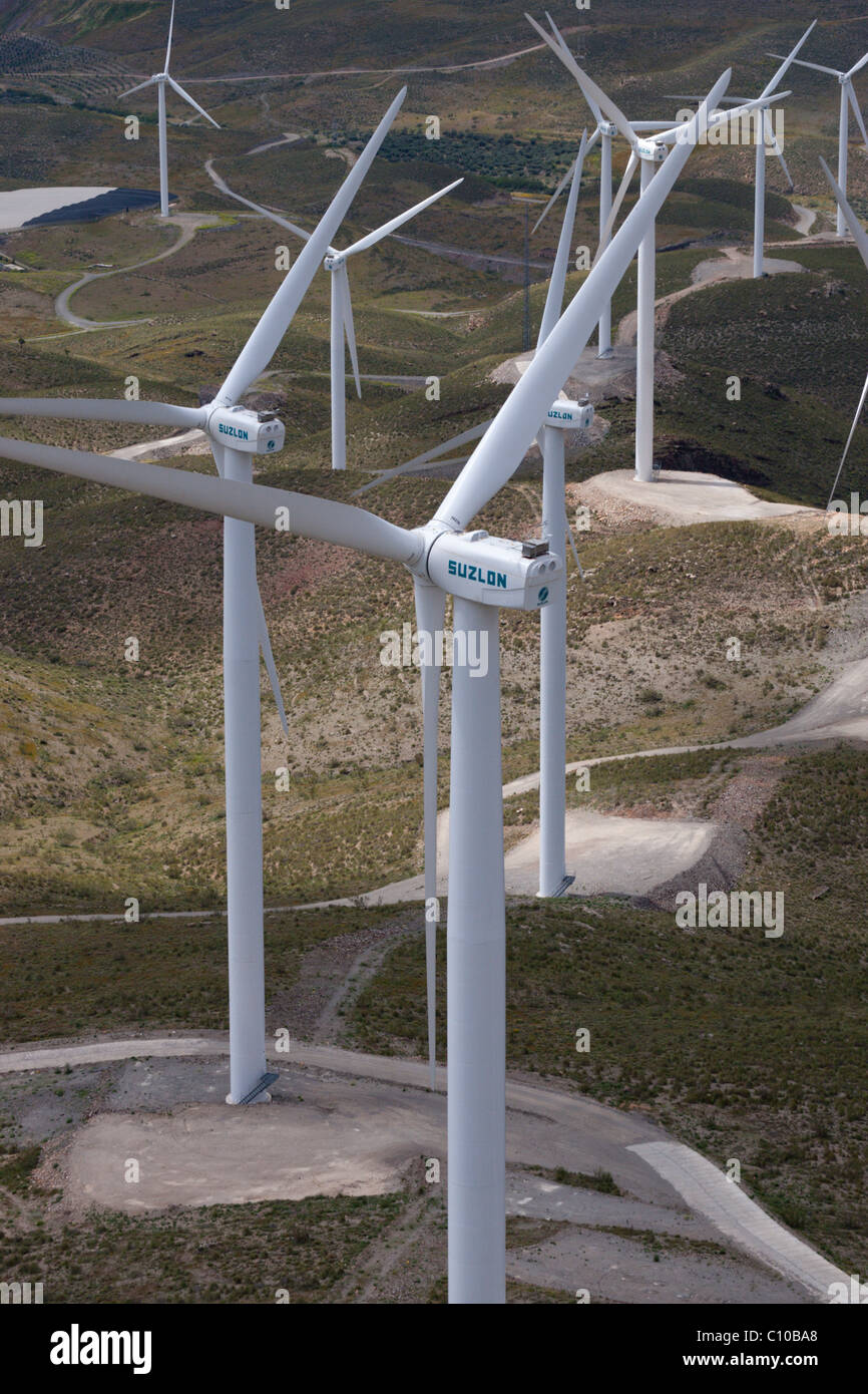 wind turbines fans towers electricity green Spain market hot dry sunny electricity green power environment environmental - Stock Image