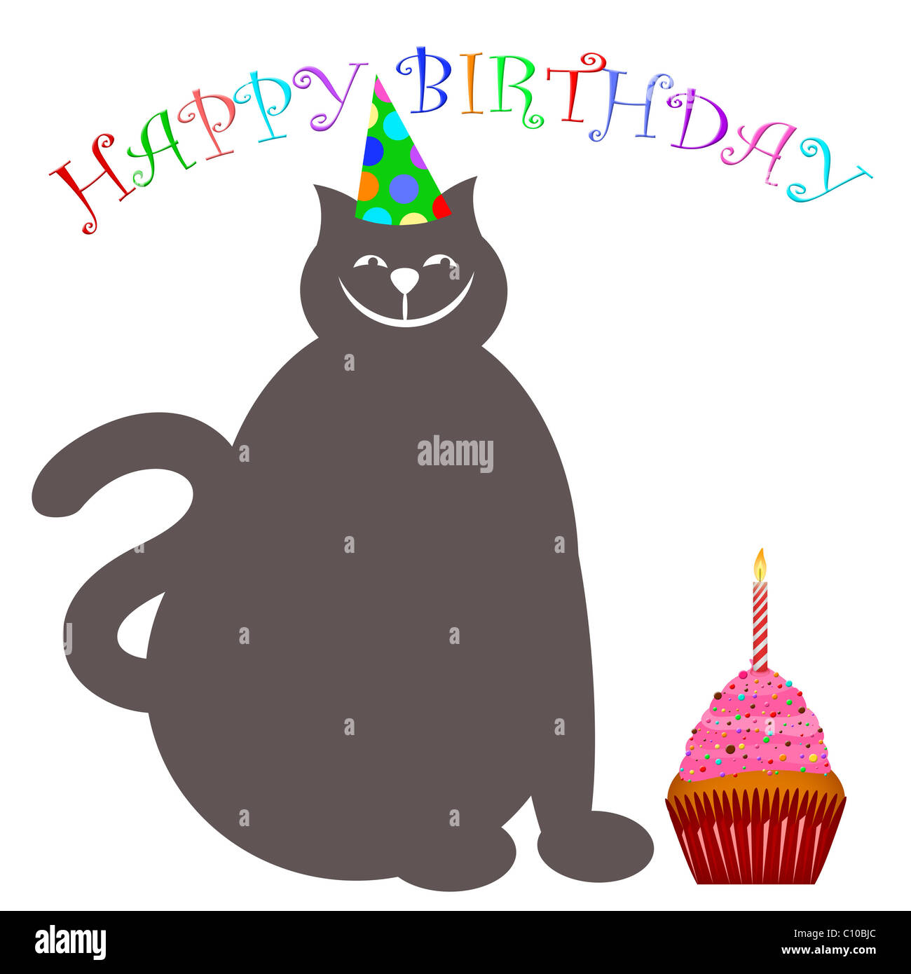 Happy Birthday Cat With Hat Cupcake And Candle Illustration