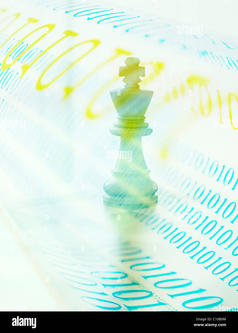 chess king with bits of information 0101010 - Stock Image