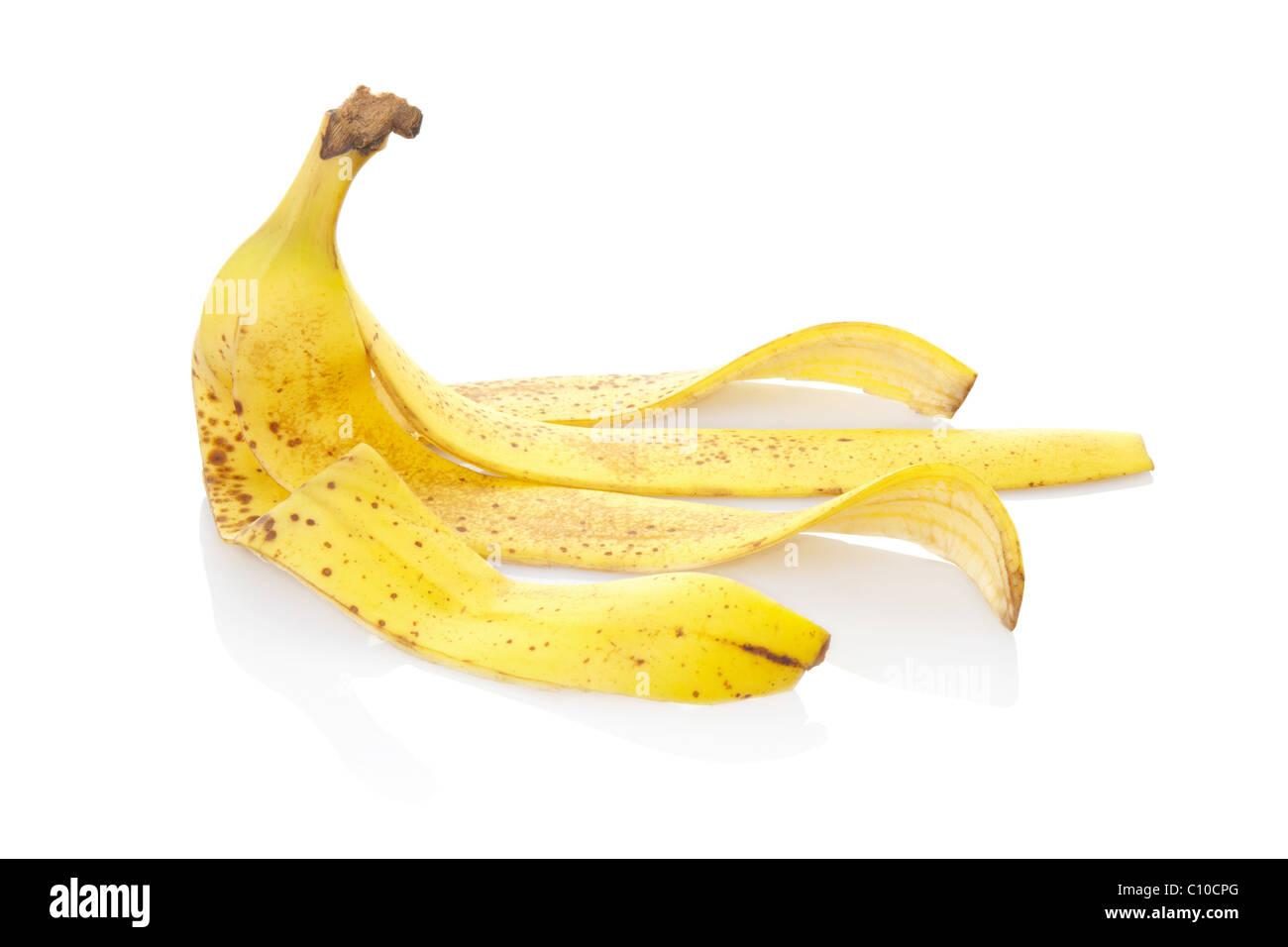 Banana peel isolated on white - Stock Image