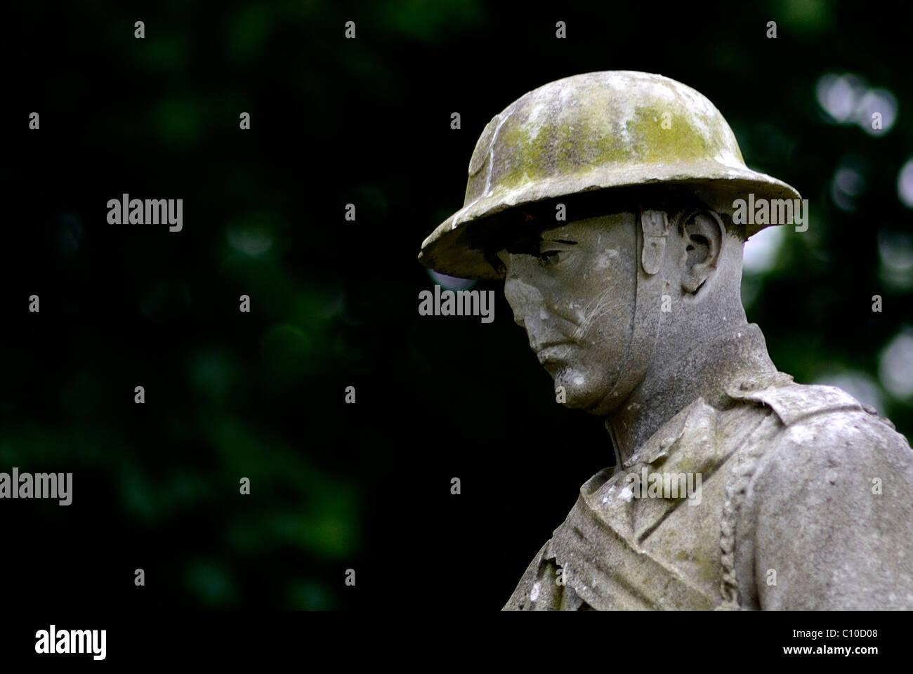 This is a head shot of a life size statue of a WW1 or WW2 soldier which also stands on a war grave in a Sunderland - Stock Image