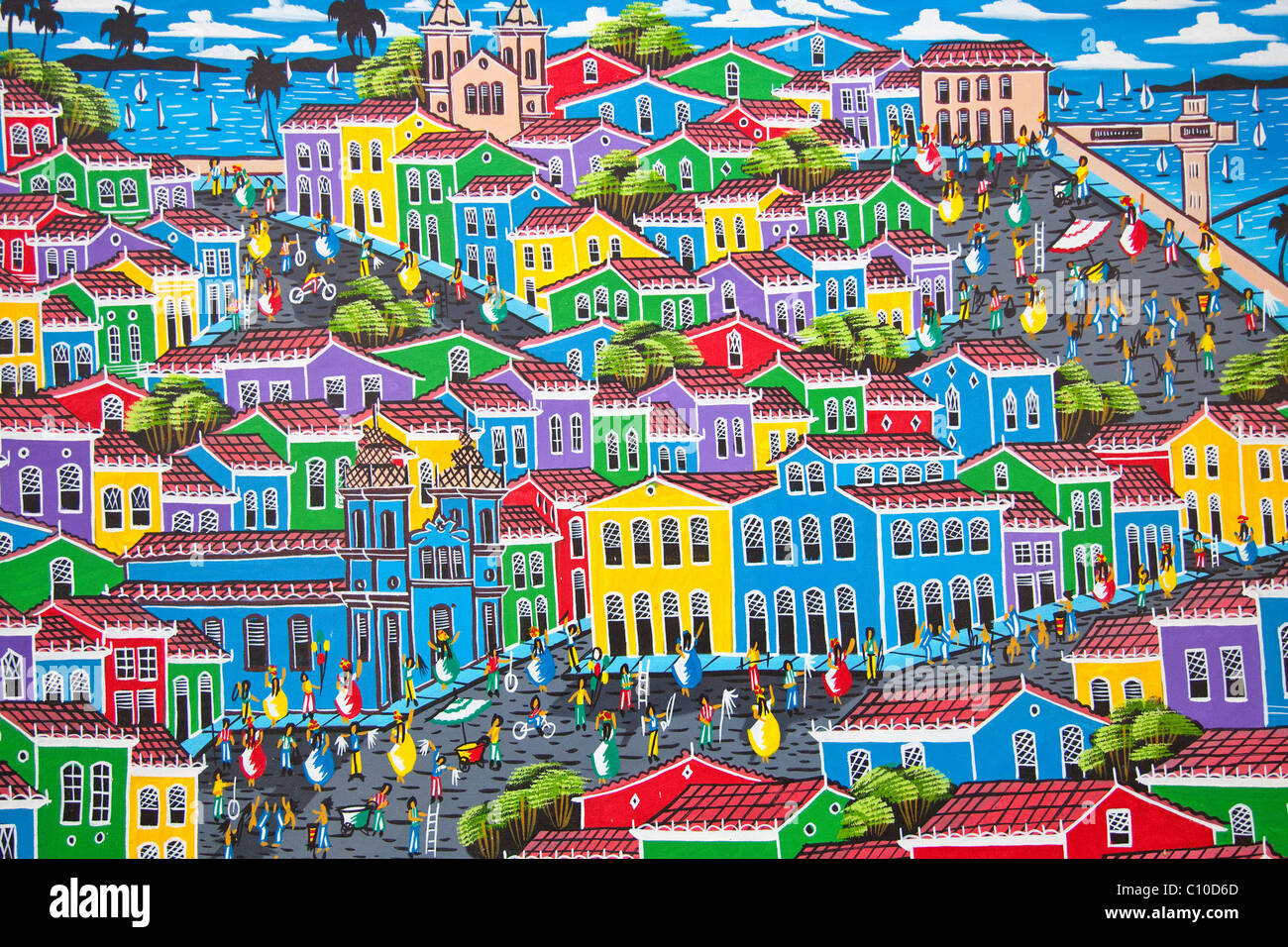 Souvenir painting in Pelourinho or the old town, Salvador, Brazil - Stock Image