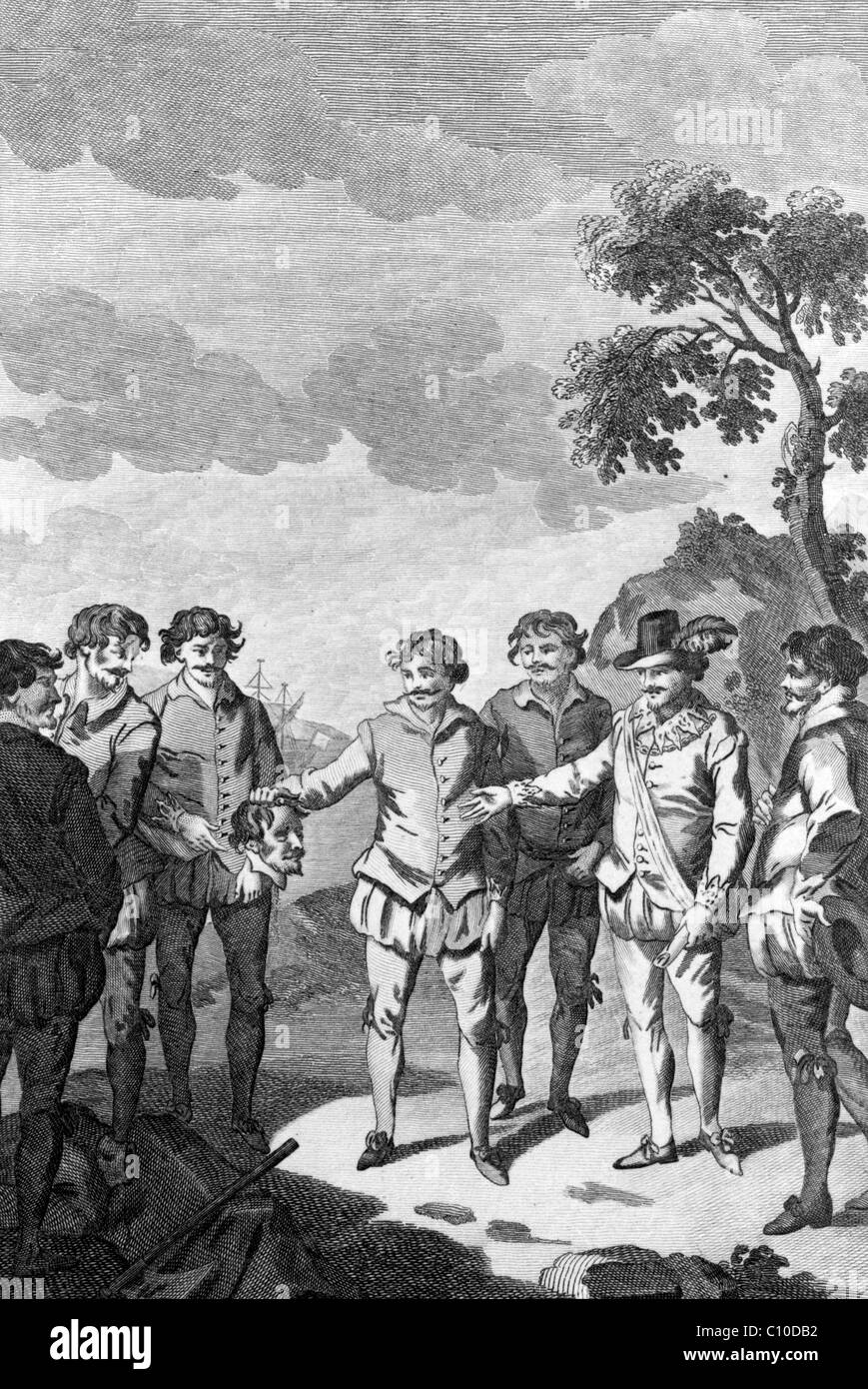 Thomas Doughty beheaded by order of Sir Francis Drake, at Port St. Julian, on the coast of Patagonia - Stock Image