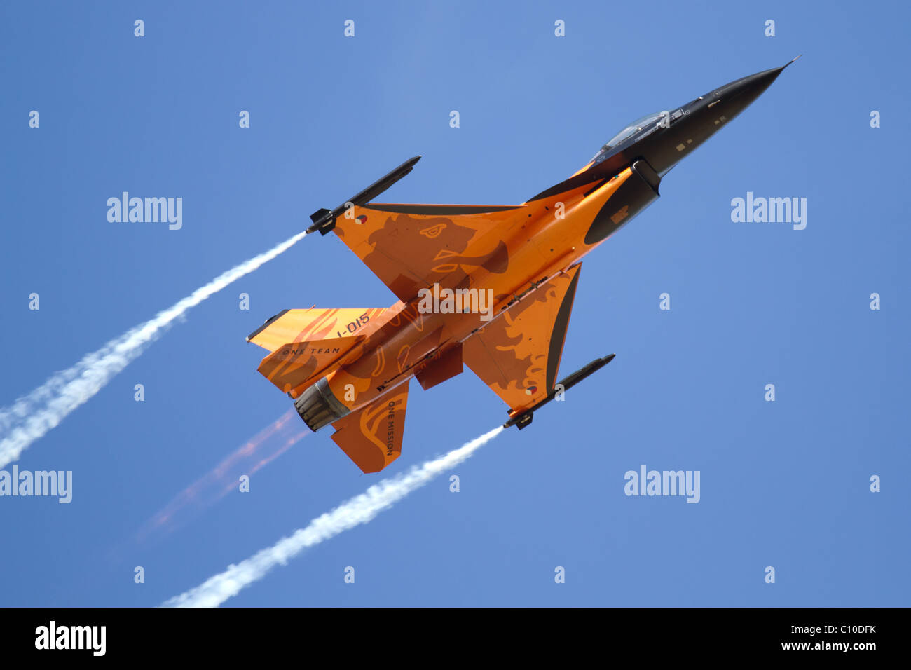 Royal Netherlands Air Force F-16 Fighting Falcon at the Royal International Air Tattoo 2010 in Fairford. Stock Photo