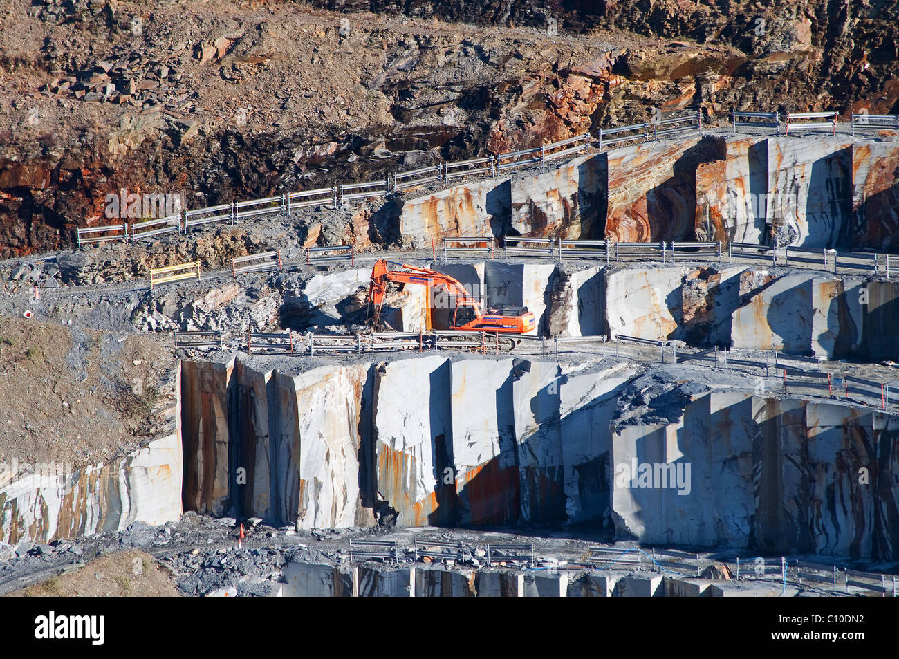A close up of the workings of Delabole slate quarry, Delabole, Cornwall, UK - Stock Image