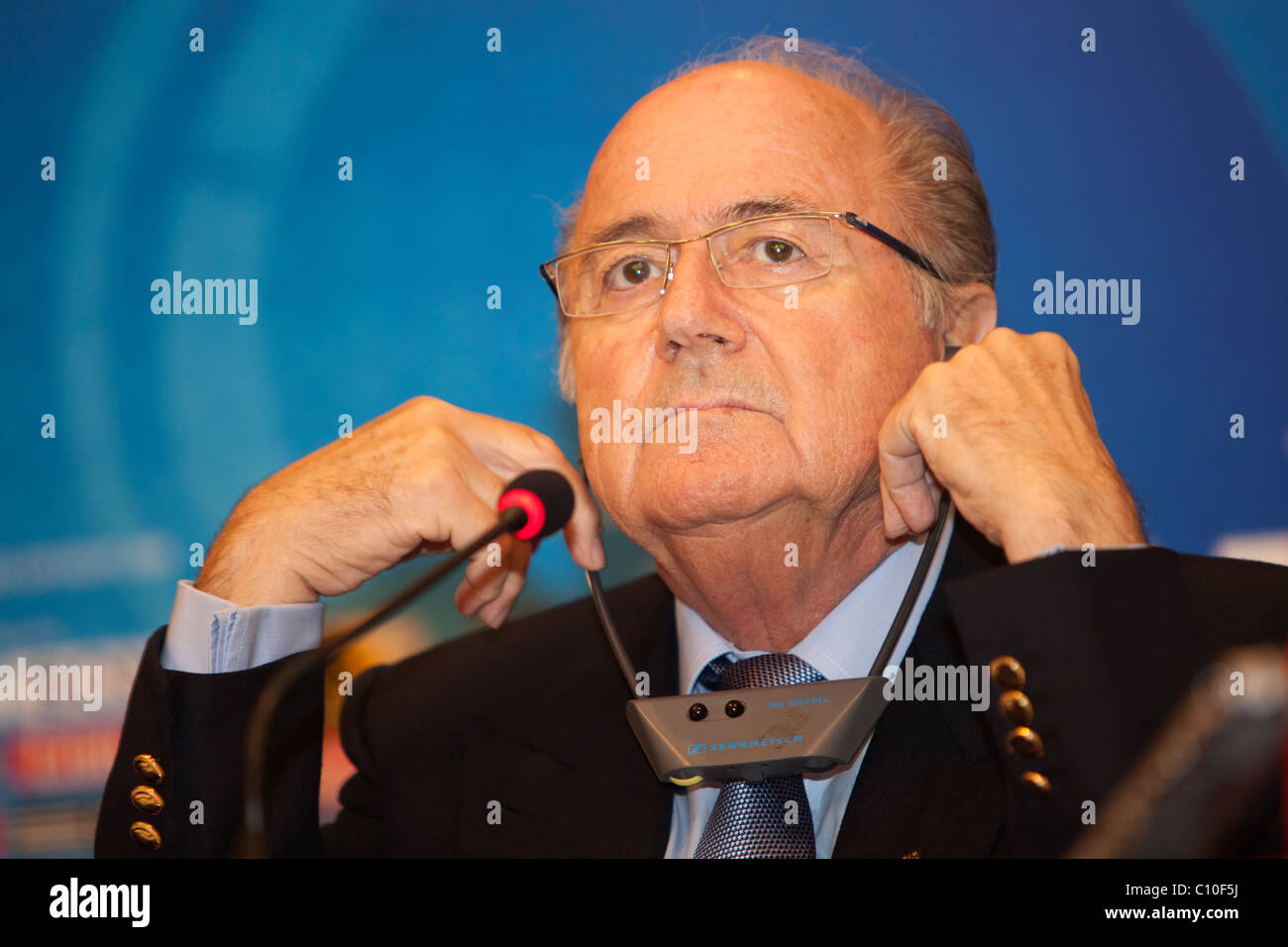 FIFA President Sepp Blatter listens to a question at a press conference ahead of the 2009 U-20 World Cup soccer - Stock Image