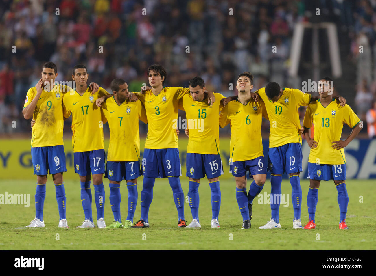 5302215ae10 Brazil players line up for penalty kicks against Ghana to determine the  2009 FIFA U-