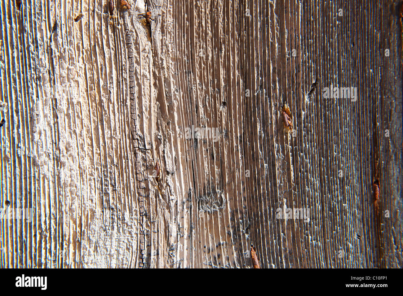 rustic weathered wood close up background - Stock Image