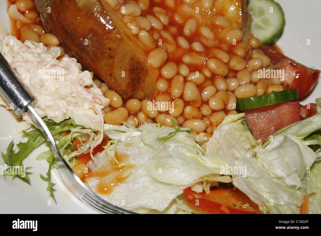 Cheese And Beans Jacket Potato With Salad Stock Photo 35048044 Alamy