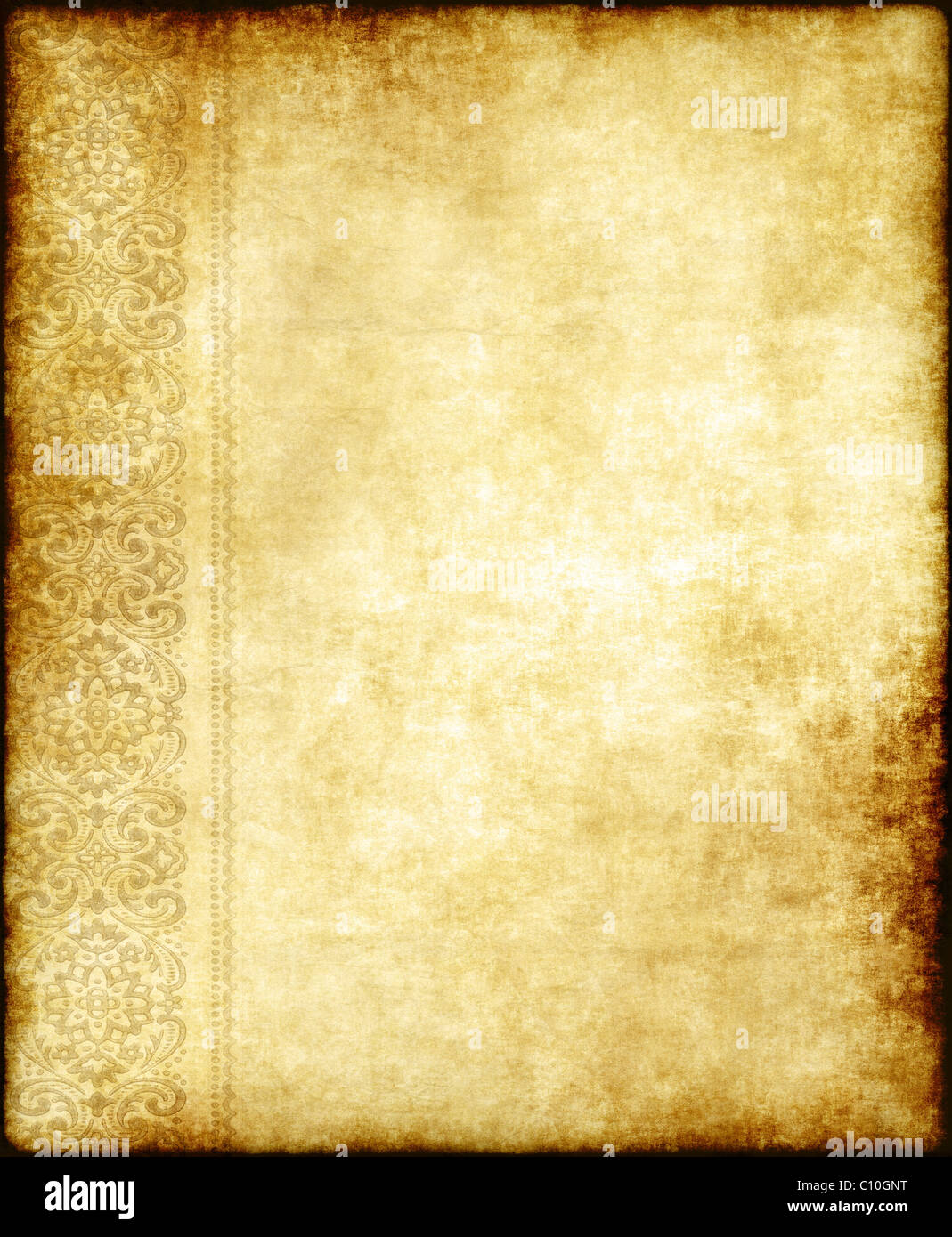 old parchment paper background with ornate edging design - Stock Image