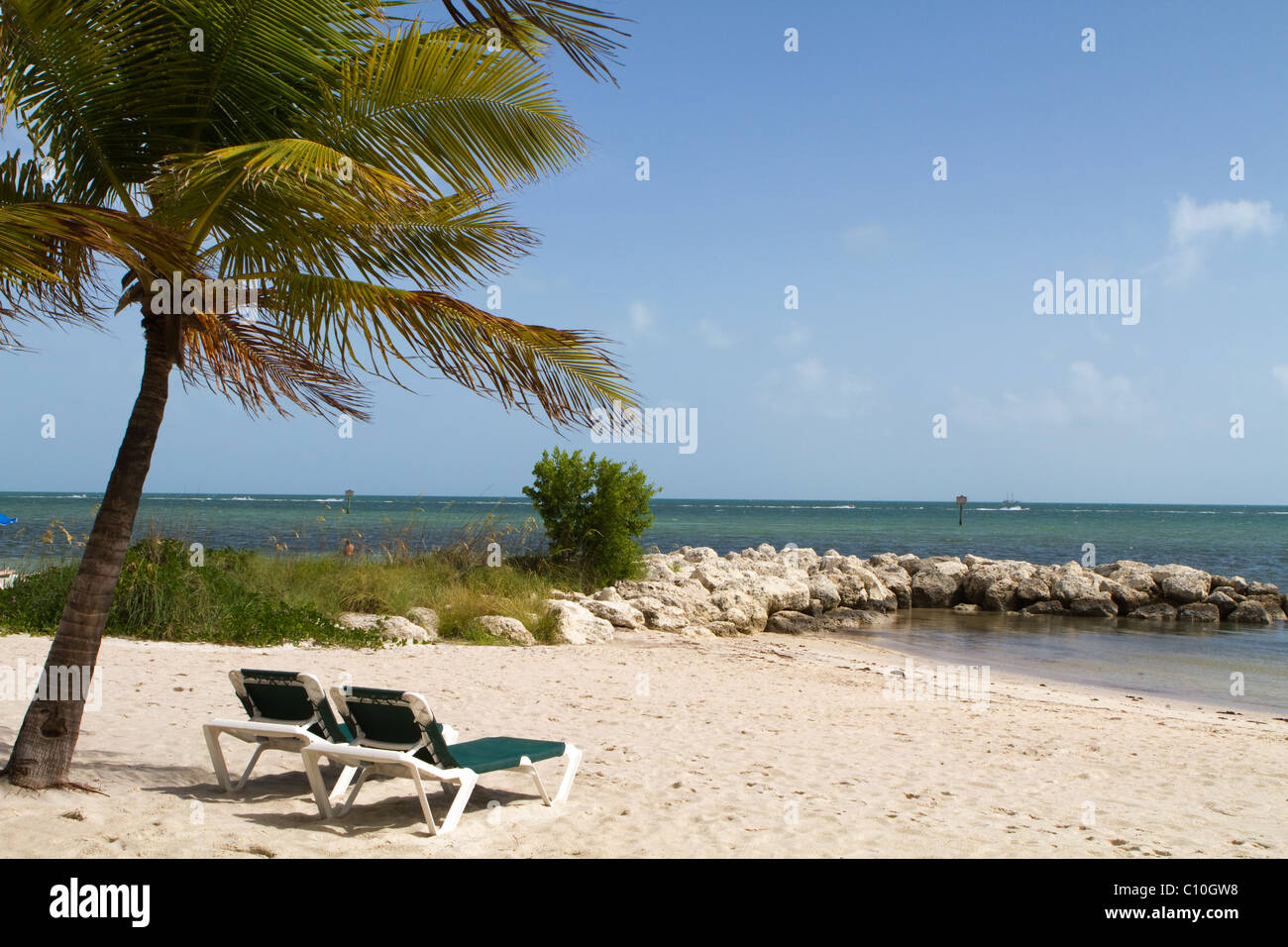 Two empty recliners sit invitingly under a palm tree on a sandy beach in Key West, Florida. - Stock Image