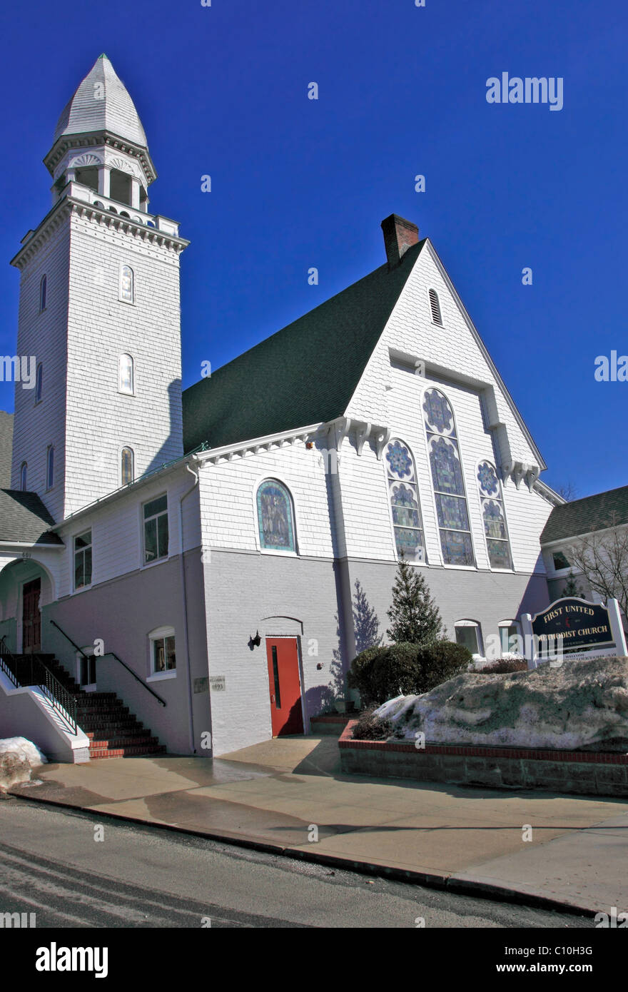 First United Methodist Church, Port Jefferson, Long Island, NY Stock Photo