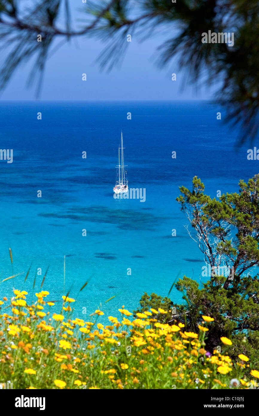 Sailing ship in the Konnos Bay, Protaras, Southern Cyprus, Cyprus, Southern Europe, Europe - Stock Image