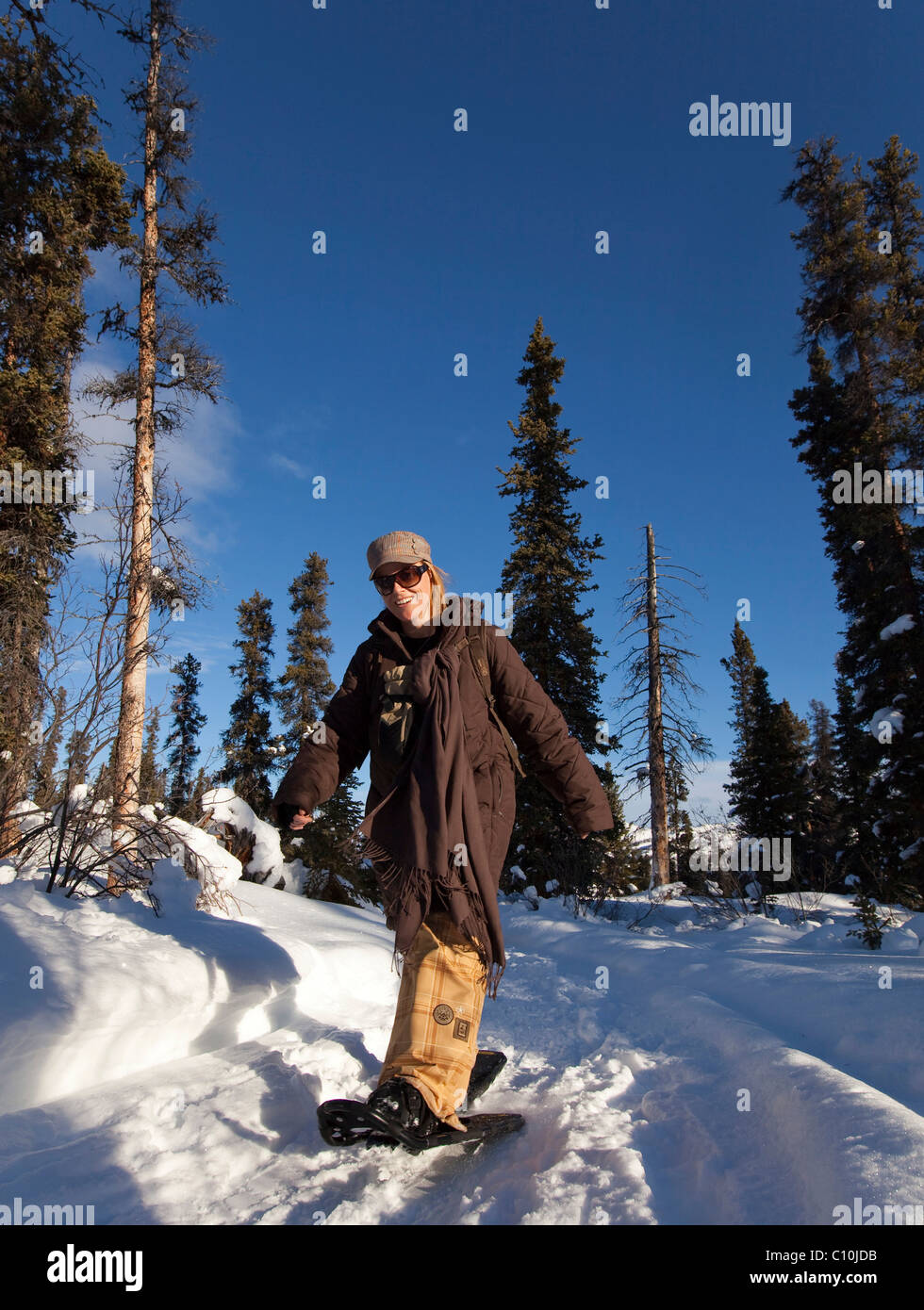 Young woman snowshoeing, hiking with snowshoes, near Fish Lake, Yukon Territory, Canada - Stock Image