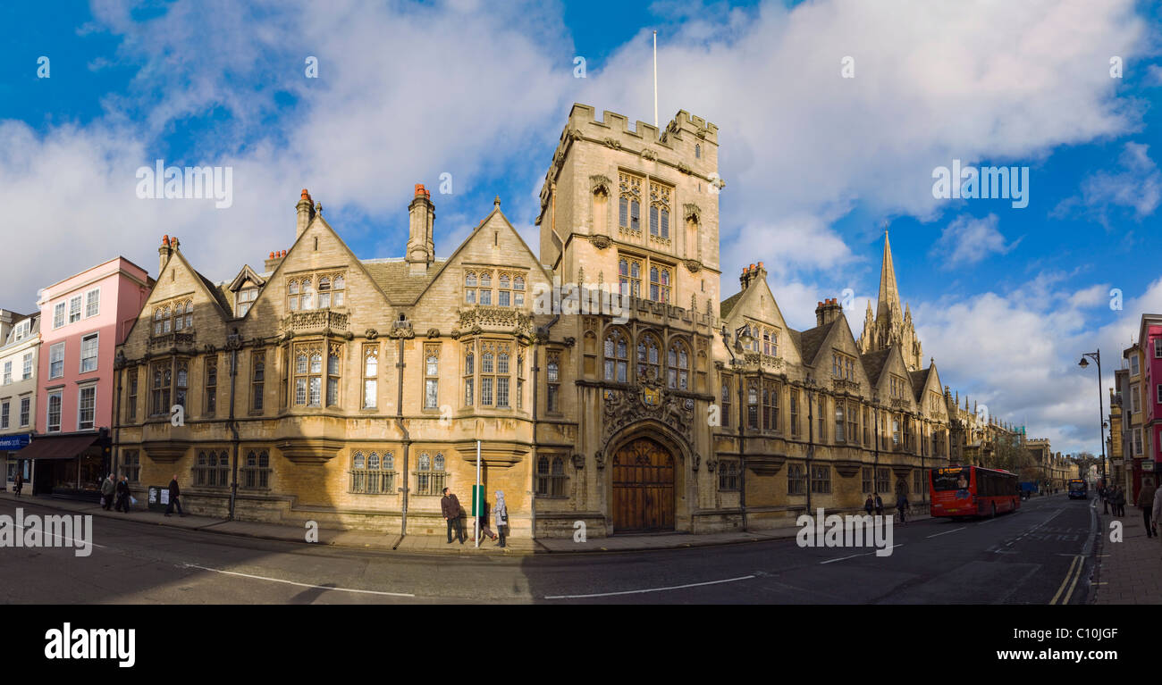 Panorama of Brasenose College building, High Street, Oxford, Oxfordshire, England, United Kingdom, Europe - Stock Image