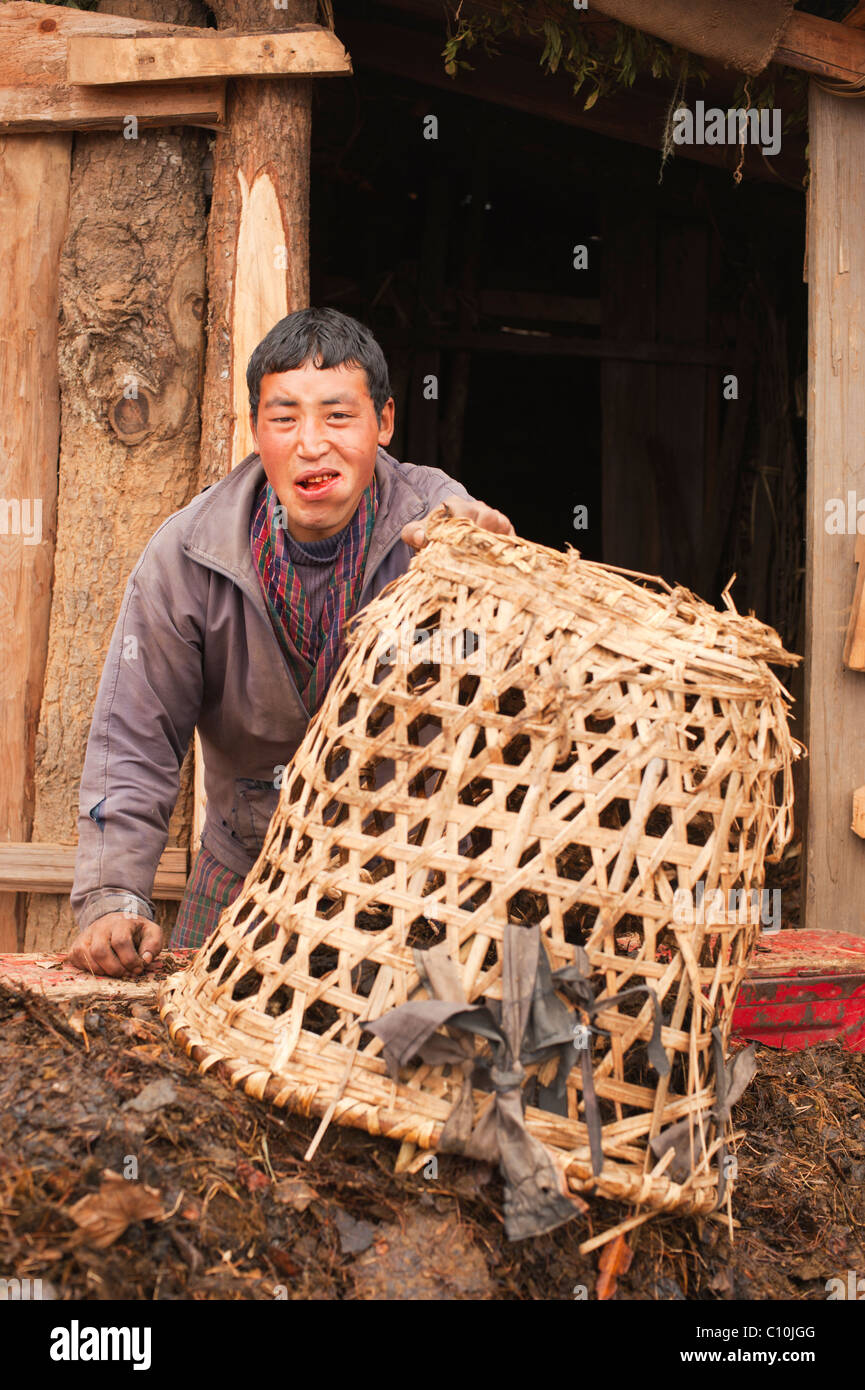 Young Bhutanese farmer chewing betel nut prepares his fields for spring planting - Stock Image