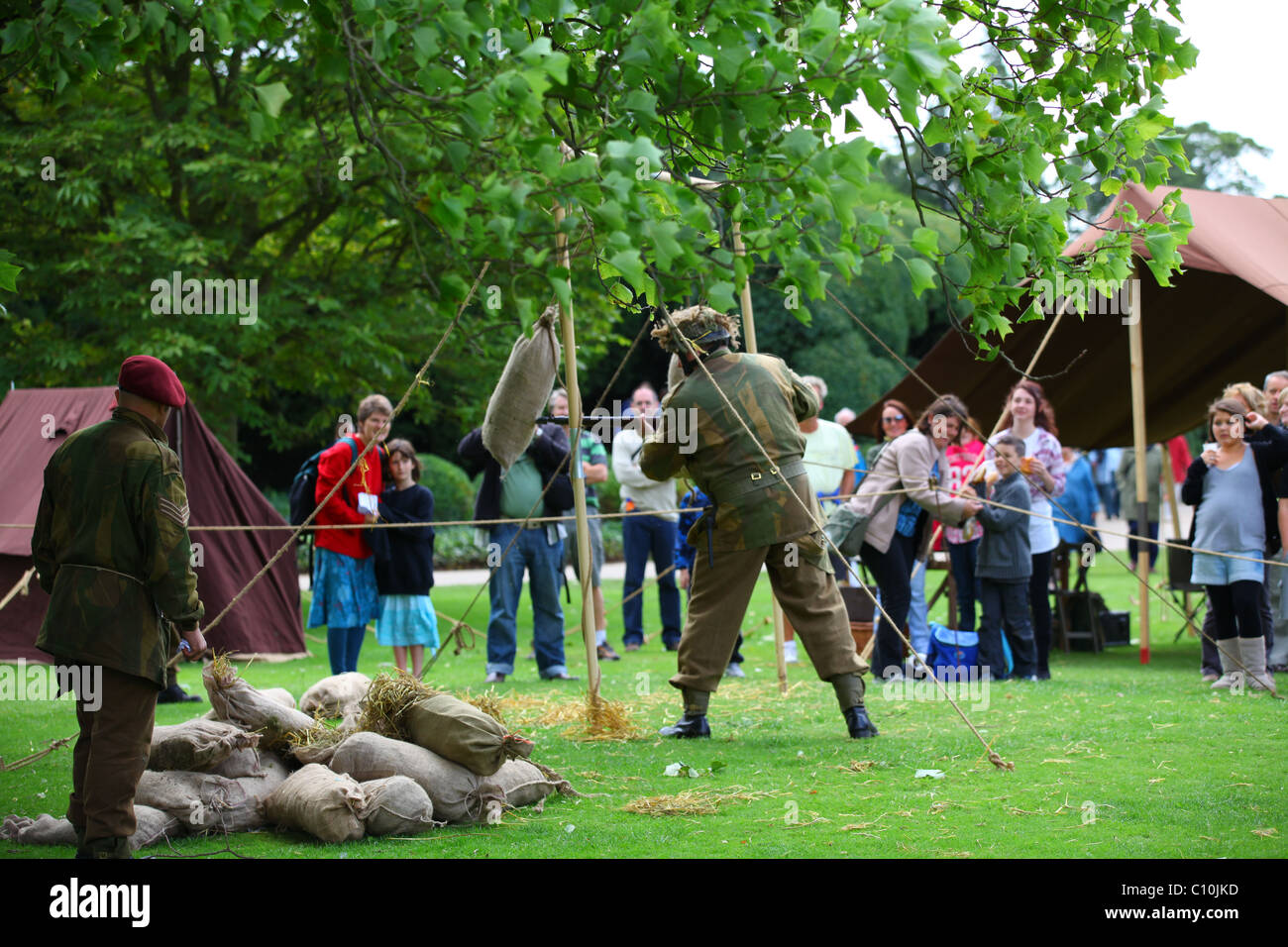 Reconstruction WW2 British Army soldiers conducting bayonet practice - Stock Image