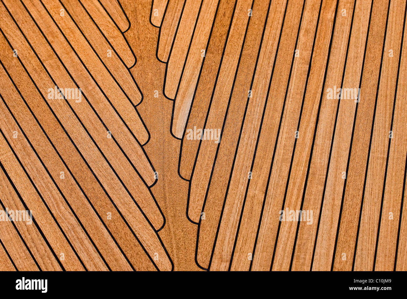 Wooden boat deck - Stock Image