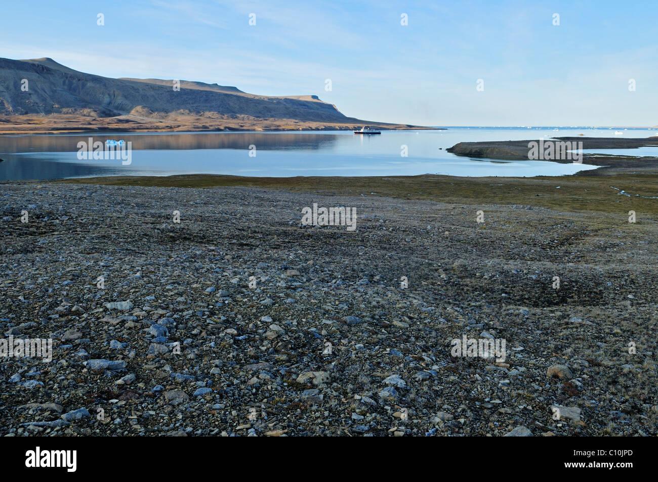 Tundra and permafrost surface at Crocker Bay, Devon Island, Northwest Passage, Nunavut, Canada, Arctic - Stock Image