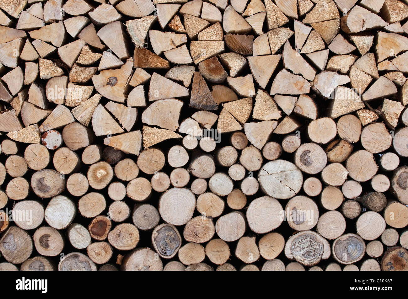 Firewood, stacked roundwood, logs on top, front side of the stack - Stock Image