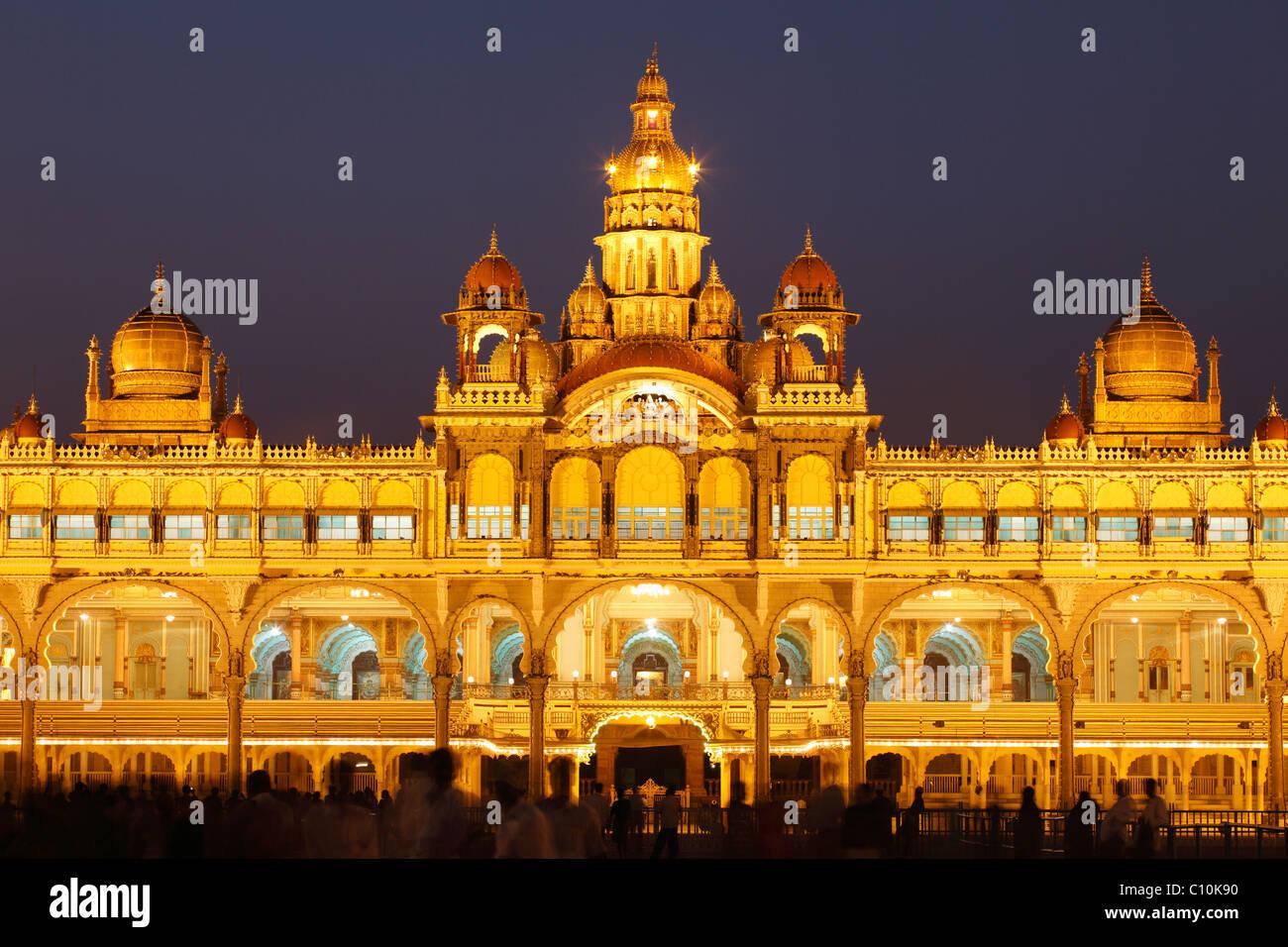 Maharaja Palace, Mysore Palace, illumination at night, Mysore, Karnataka, South India, India, South Asia, Asia - Stock Image
