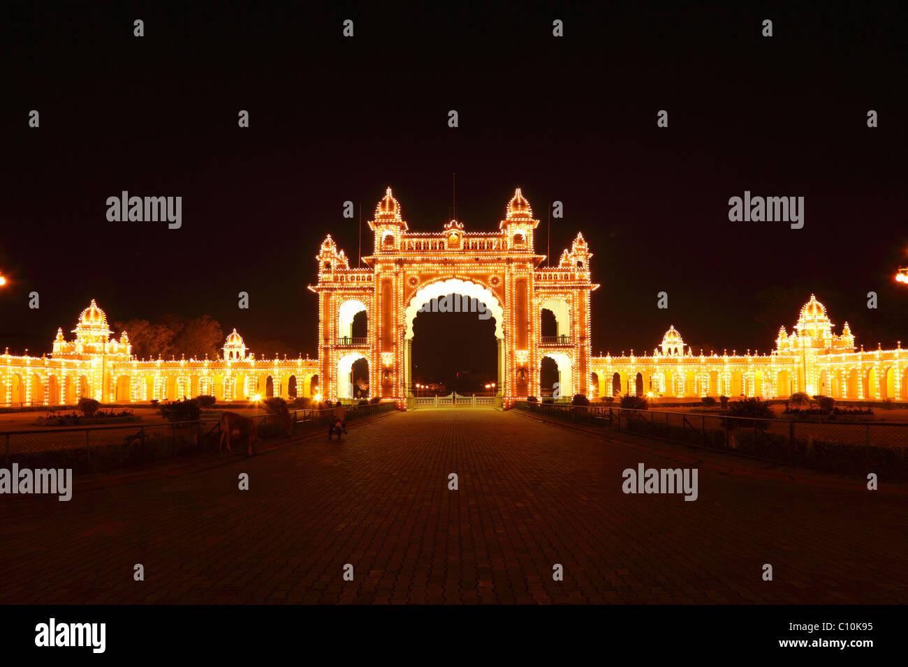 East Gate of the Maharaja's Palace Mysore Palace, Sunday illumination with incandescent lamps, , South India, - Stock Image