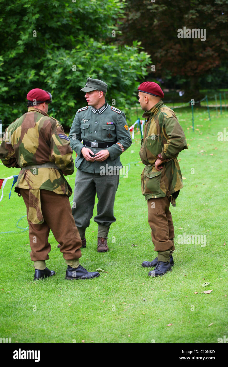 Reconstruction WW2 British and German soldiers in uniform
