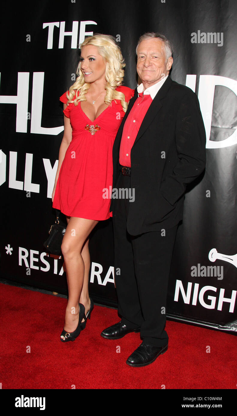 Hugh Hefner and Crystal Harris The launch of Lengths for Love charity at The Highlands Hollywood, California - 14.02.09 - Stock Image