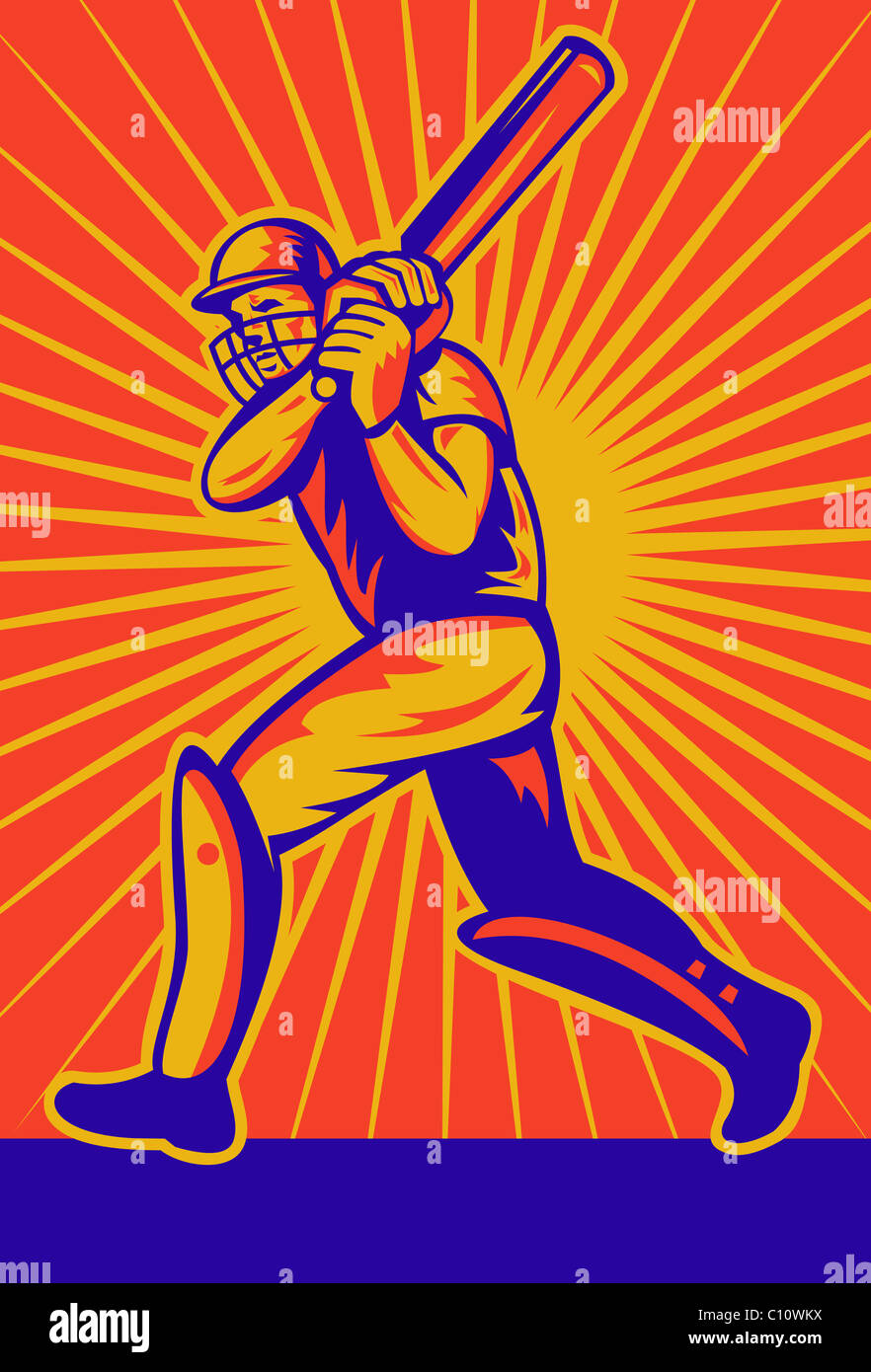 illustration of a cricket batsman batting front view with sunburst in background done in retro style - Stock Image