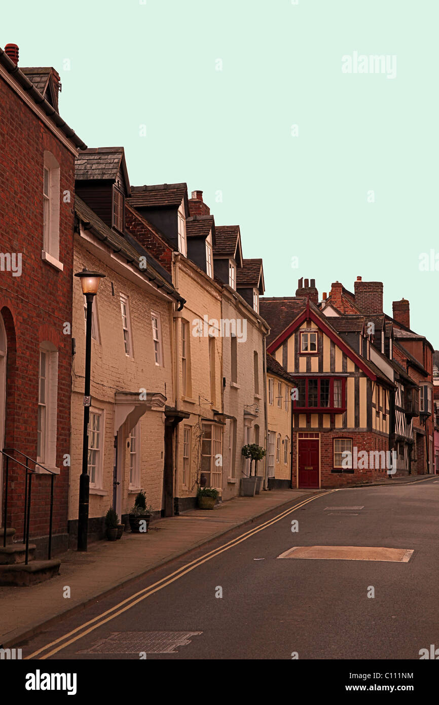 Town houses on Bell Lane in Ludlow, Shropshire, England, UK - Stock Image