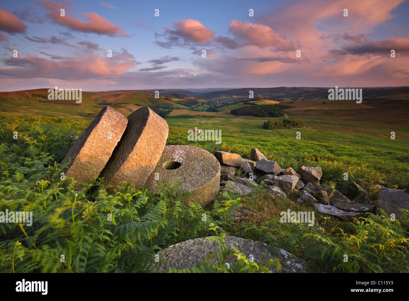 Sunset over Stanage Millstones - Stock Image