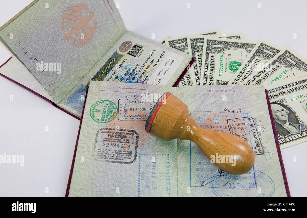 Entry stamps and visa stamps in passports of the Federal Republic of Germany, U.S. dollars - Stock Image