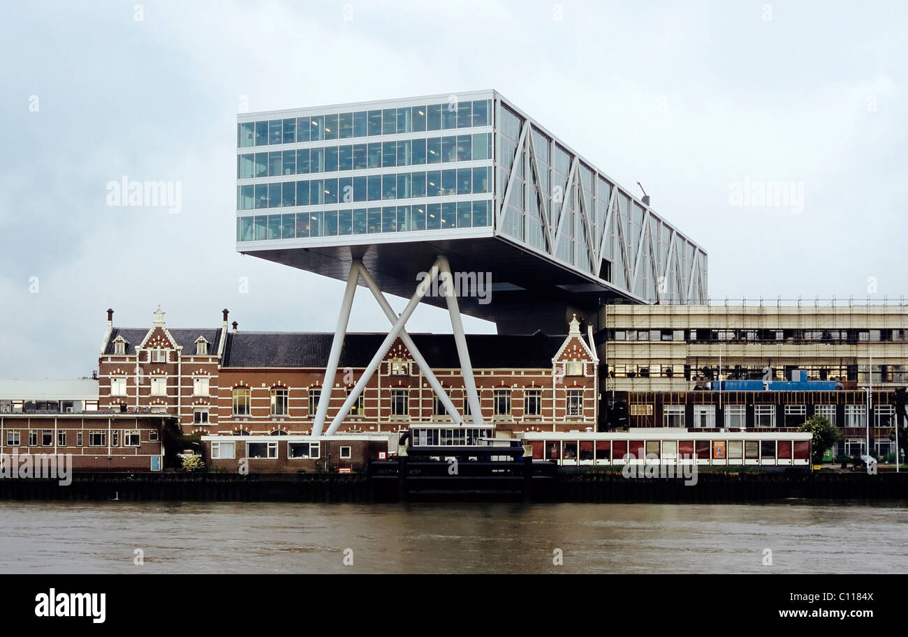 Unilever building on stilts, banks of the Nieuwe Maas, Rotterdam, South Holland, Netherlands, Europe - Stock Image
