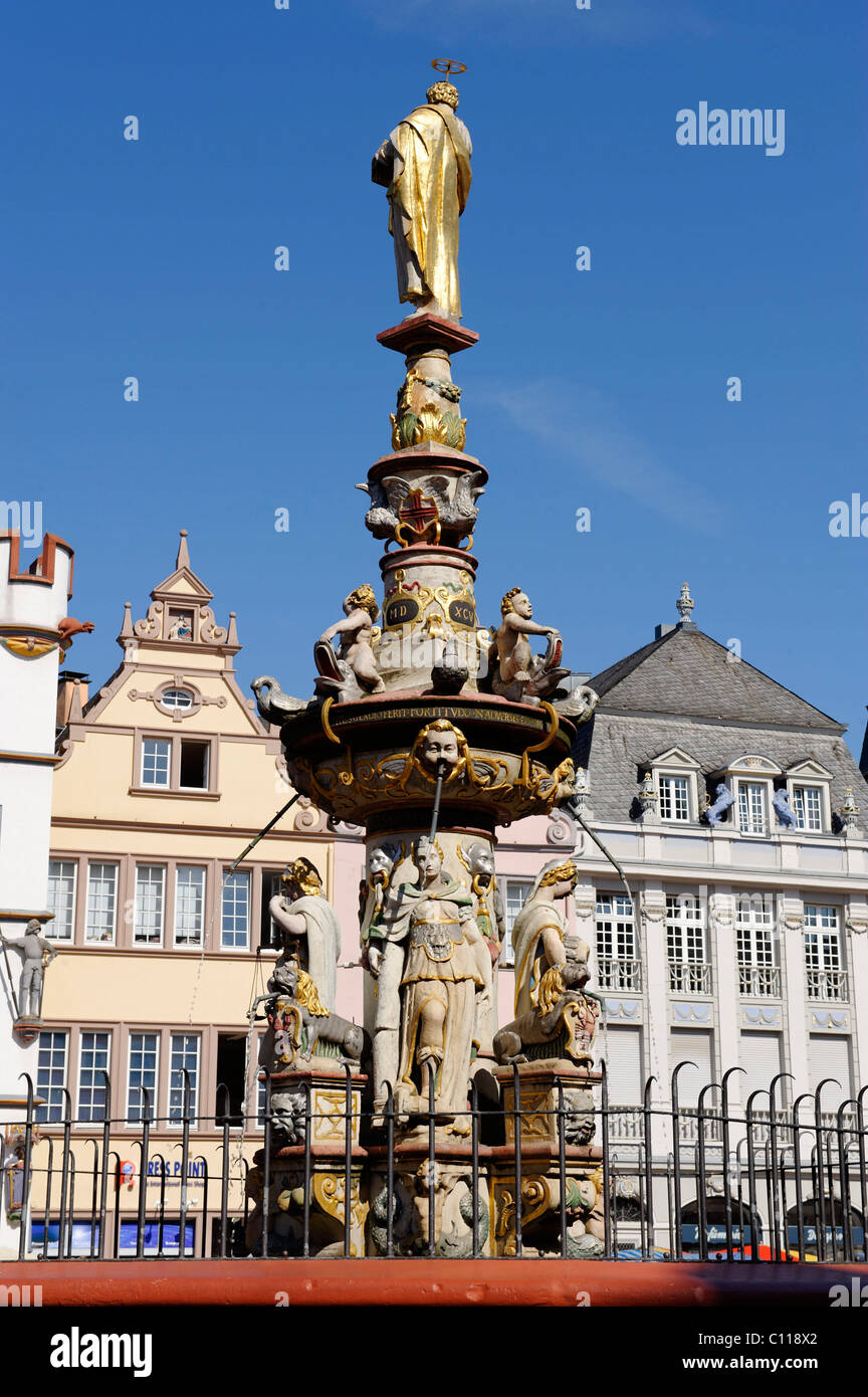 Market fountain by H.R. Hoffmann, Hauptmarkt, main square, Trier, Rhineland-Palatinate, Germany, Europe - Stock Image