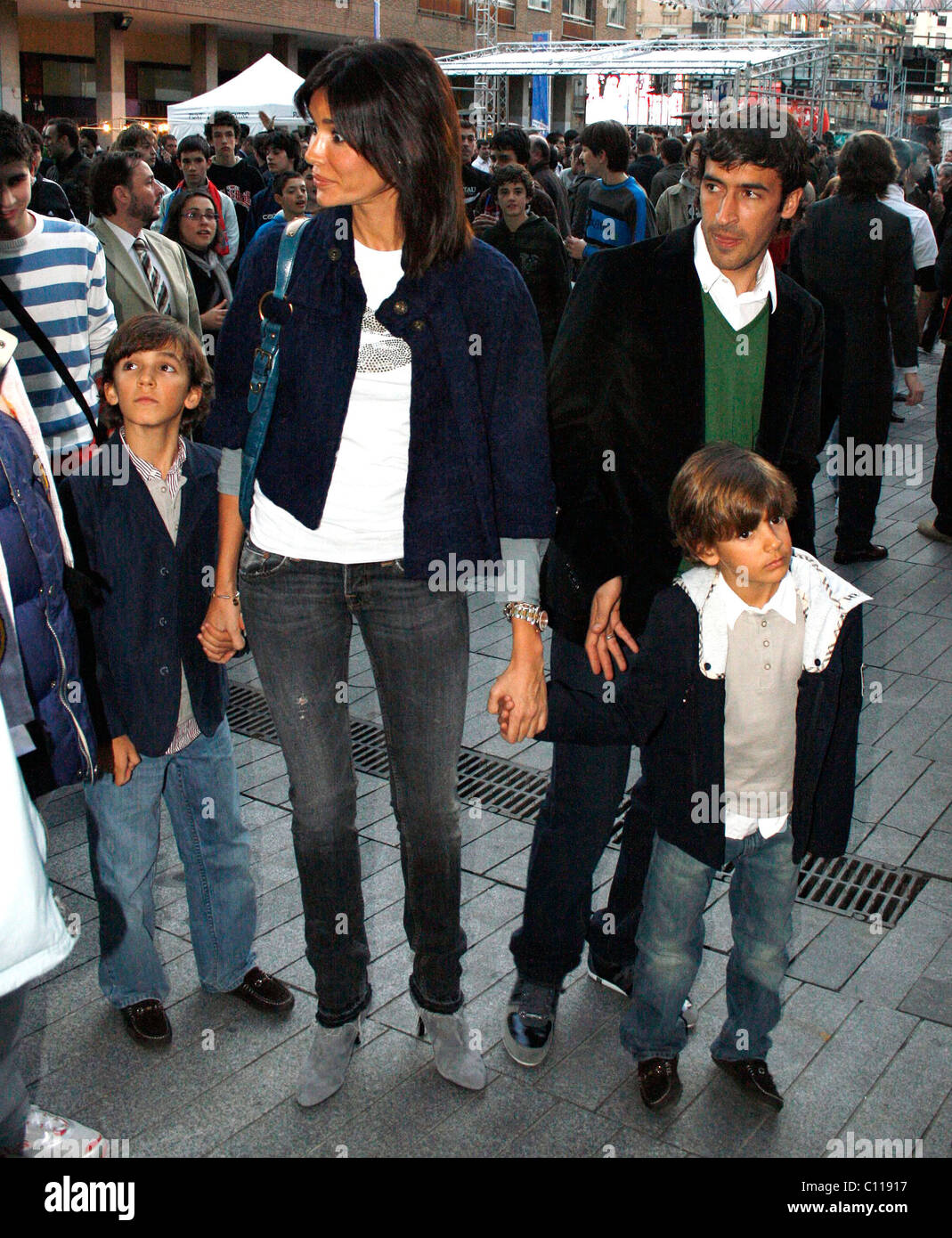 a0776e881 Real Madrid football star Raul and his family attend a basketball game  between Barcelona and Real Madrid Madrid