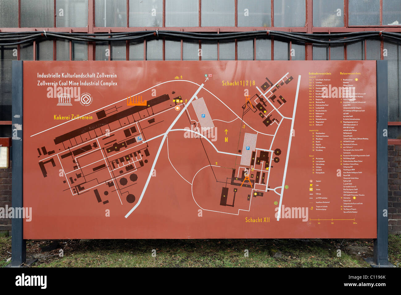 Zollverein Coal Mine Industrial Complex, information board with a site map, Essen-Stoppenberg, Ruhr area, North - Stock Image