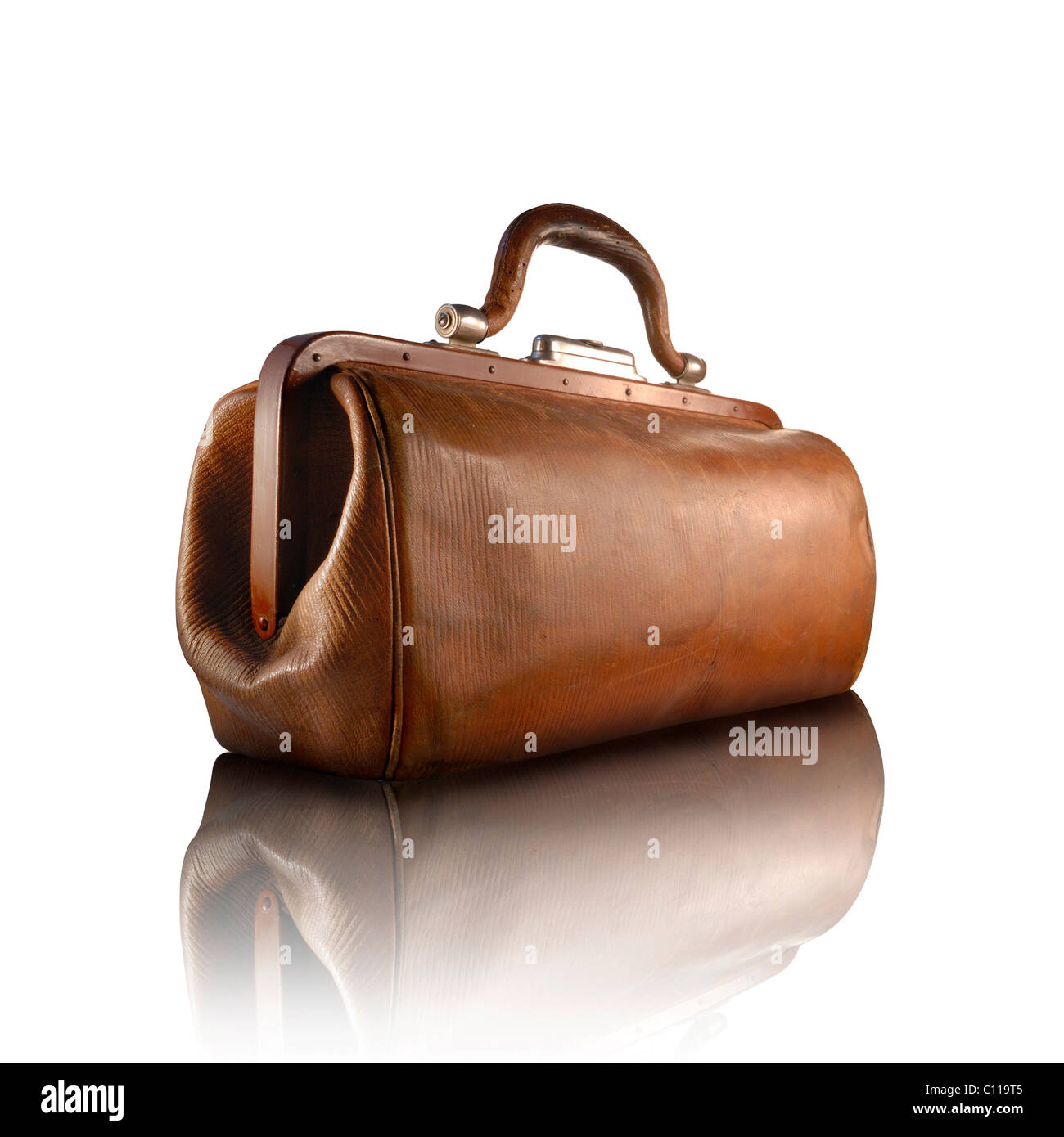 An old, brown doctor's bag - Stock Image