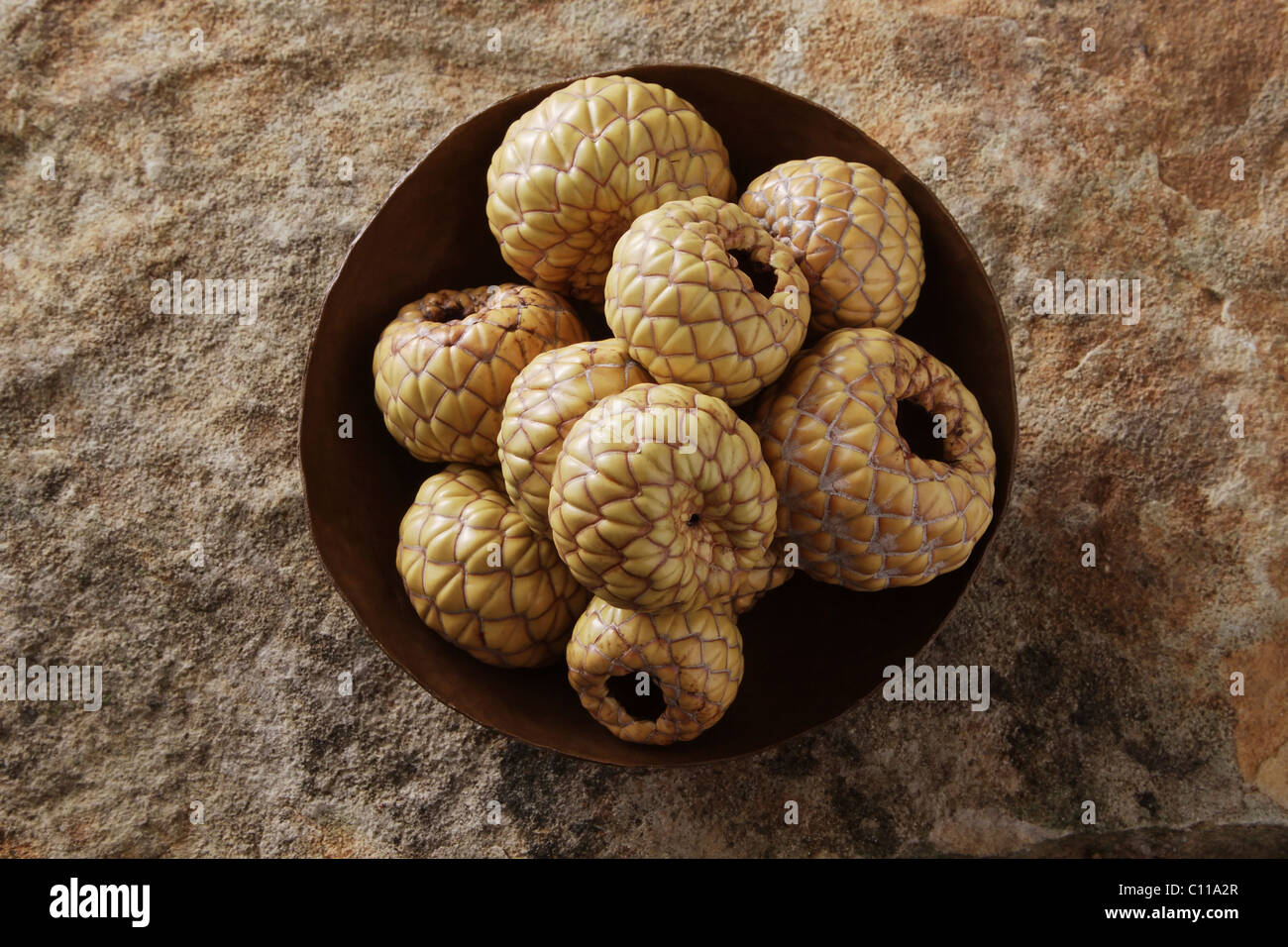 Salak (Salacca zalacca), fruit, in a copper bowl on a stone surface - Stock Image