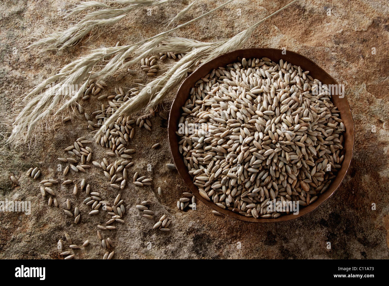 Rye grains (Secale cereale) in a copper bowl on a stone surface Stock Photo
