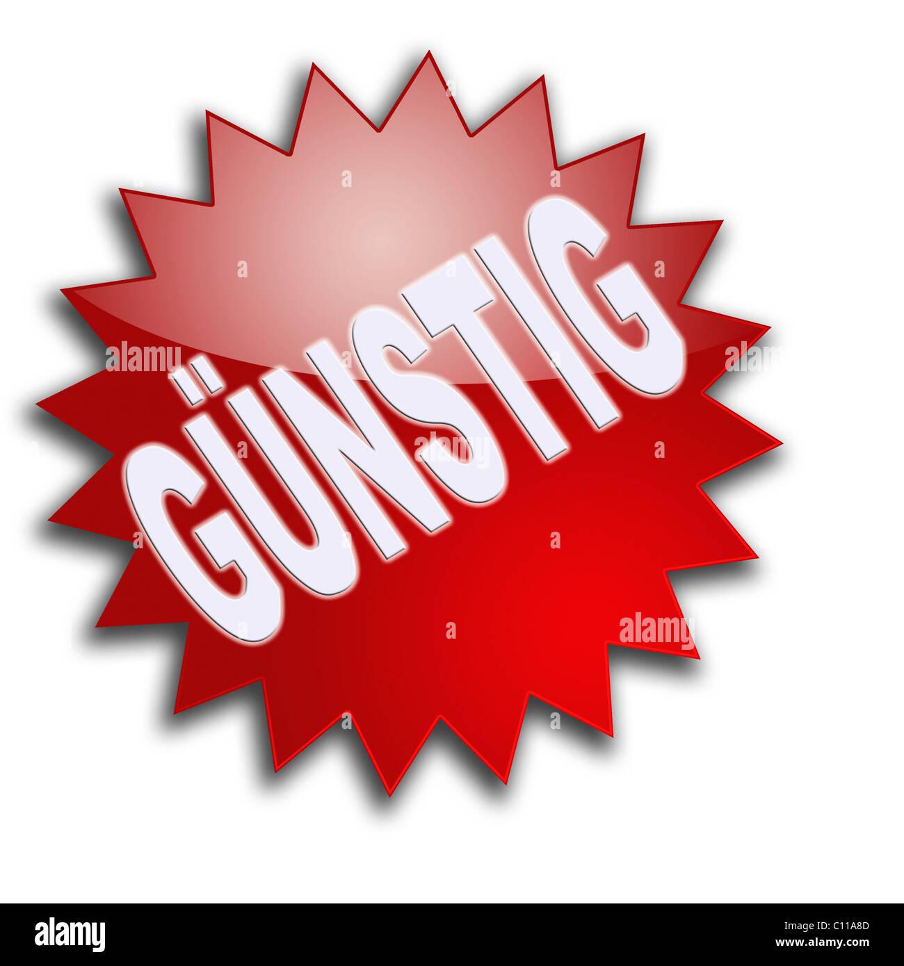 Lettering 'Guenstig', cheap - Stock Image