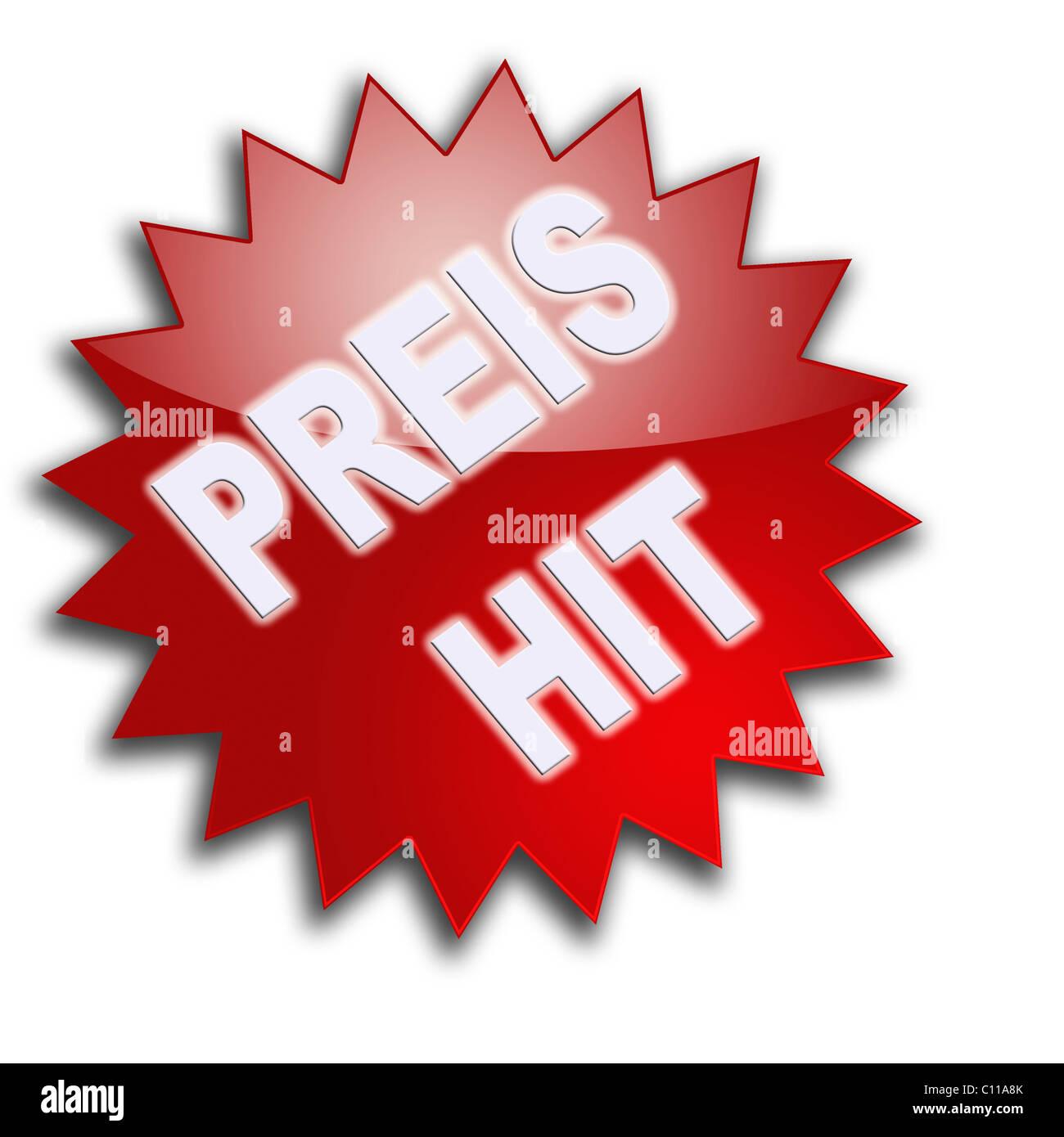 Lettering 'Preishit', bargain - Stock Image