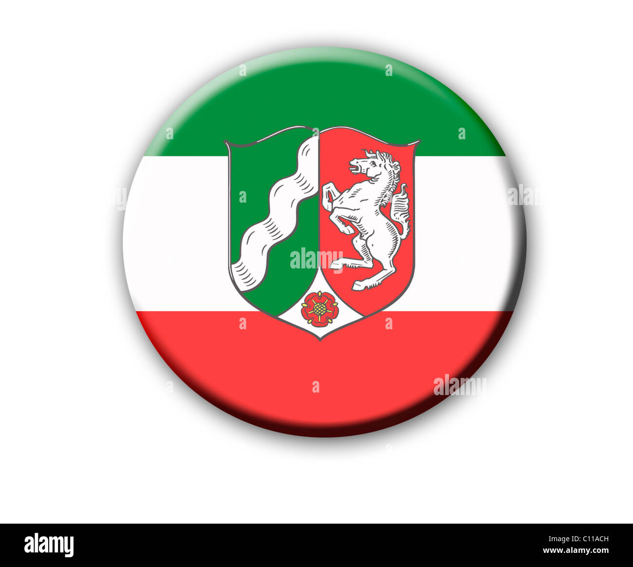 Coat of arms of the state North Rhine-Westphalia, Germany - Stock Image