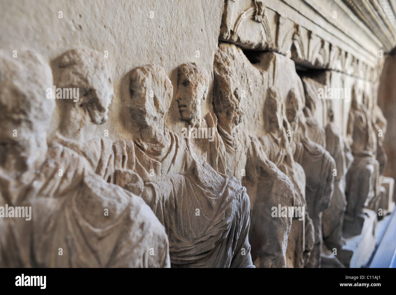 Exhibition on the Flavian imperial family in the Curia in the Roman Forum, Rome, Italy, Europe - Stock Image