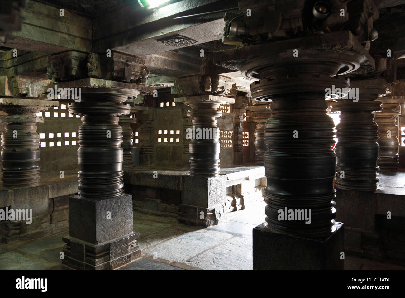 Turned stone pillars in the interior of the Kesava Temple, Keshava Temple, Hoysala style, Somnathpur, Somanathapura, - Stock Image